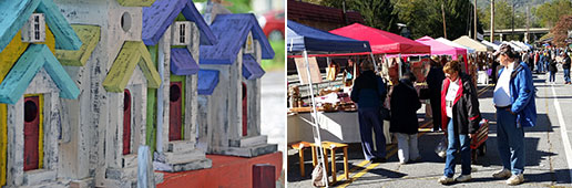 artistic birdhouses and street festival